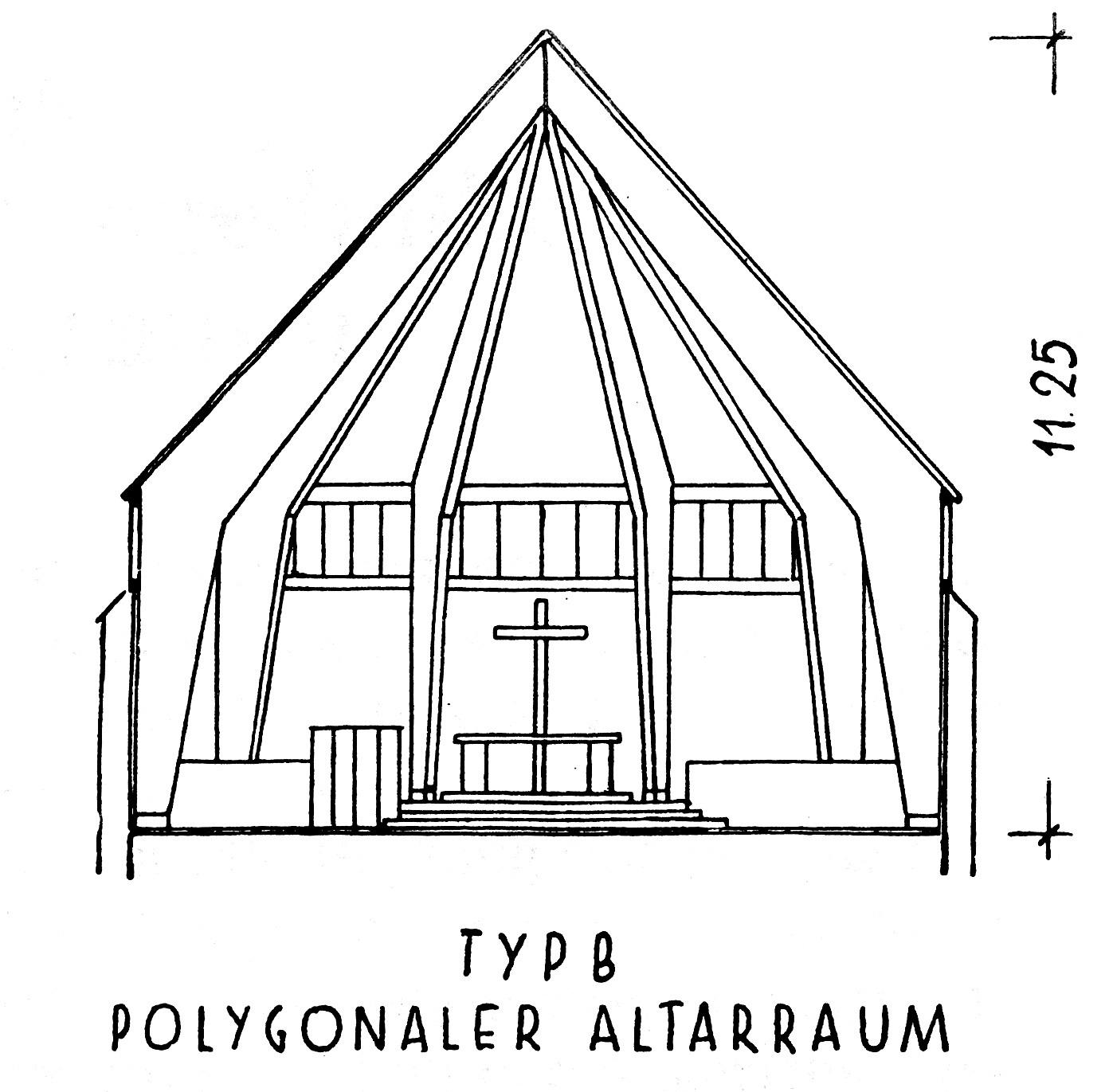 Darmstadt | Matthäuskirche | Schnitt der Notkirche Typ B mit polygonalem Altarraum