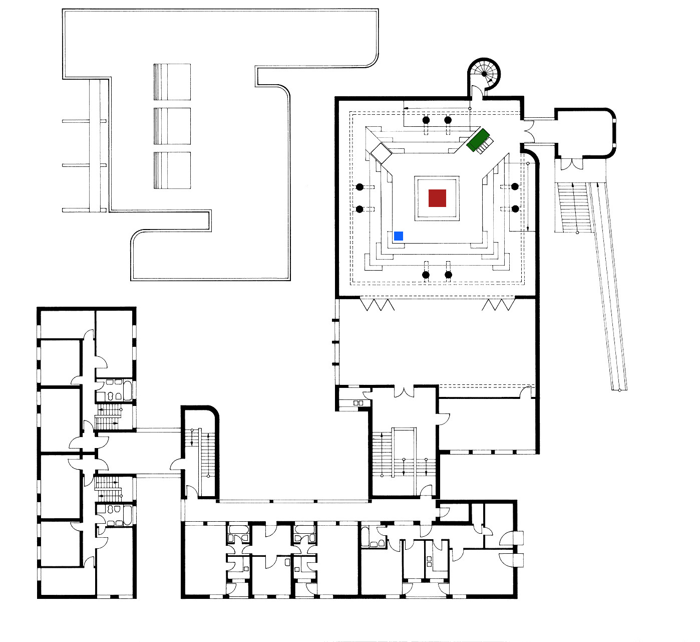 Berlin | Gemeindezentrum Plötzensee | Grundriss (bearbeitet) | Foto: Architekturmuseum, TU Berlin, Inv.-Nr. NGP 0043-0119-2