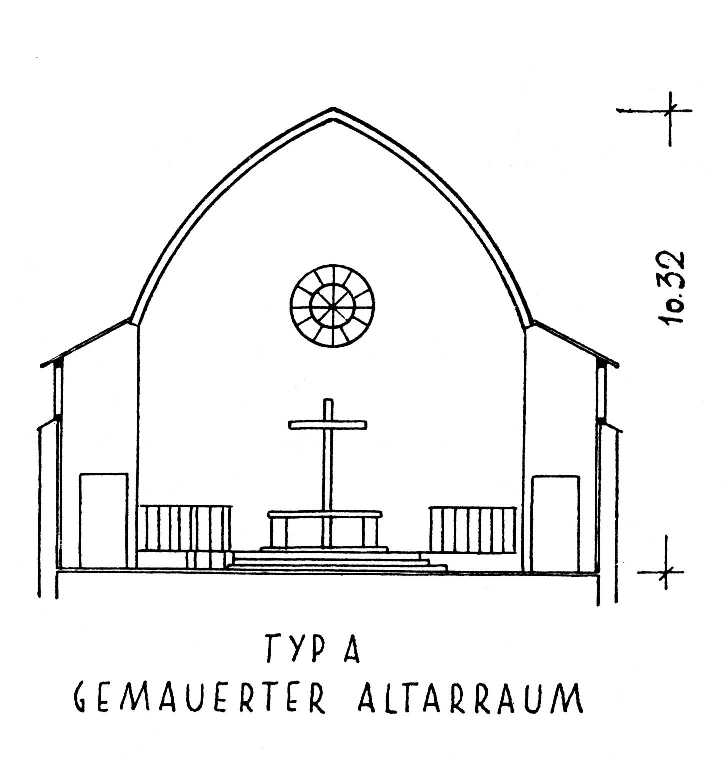 Otto Bartning | Notkirche Typ A | Schnitt