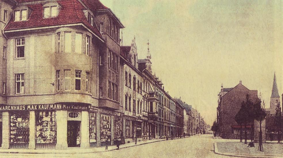 Essen-Frohnhausen | Berliner Straße mit dem Vorgängerbau um 1917 | Foto: historische Postkarte