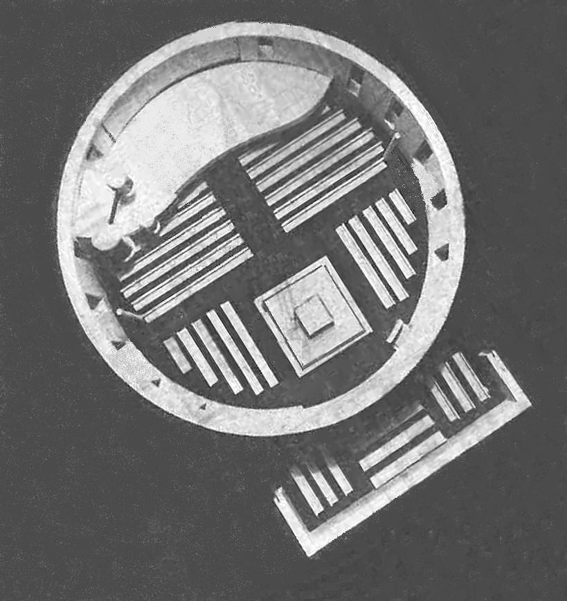 Aumühle | Bismarck-Gedächtniskirche | Blick ins Umbau-Modell von 1966 (ohne Anbauten im Nordwesten) | Bildquelle: Hambuger Abendblatt, 30. Juni 1966, bearbeitet