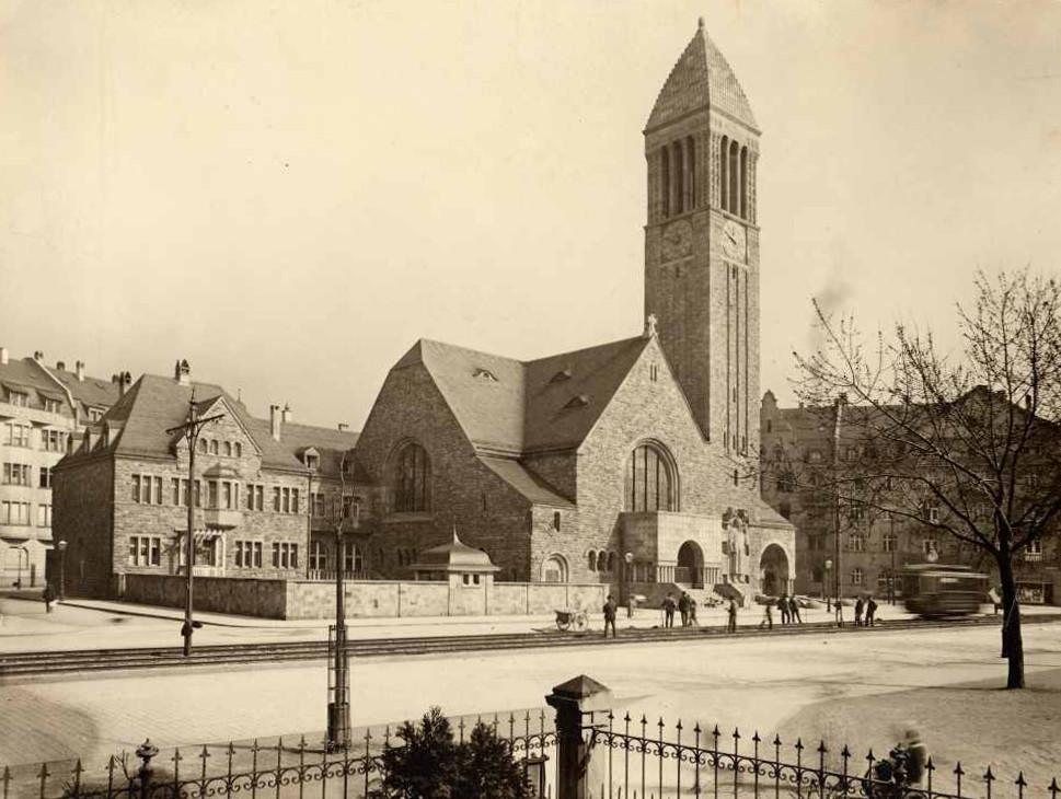 Karlsruhe | Lutherkirche | Außenbau | Foto: Stadtarchiv Karlsruhe, Ansicht um 1907
